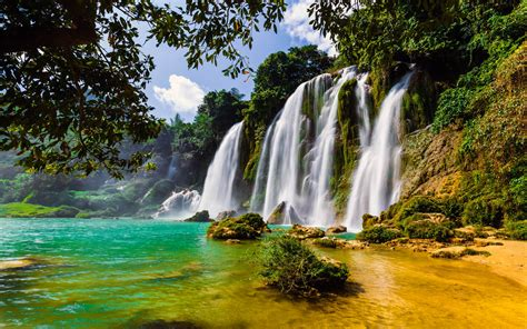 Ban Gioc Waterfall In China And Vietnam 4k Wallpapers Hd