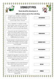 English worksheets: stereotypes worksheets, page 1